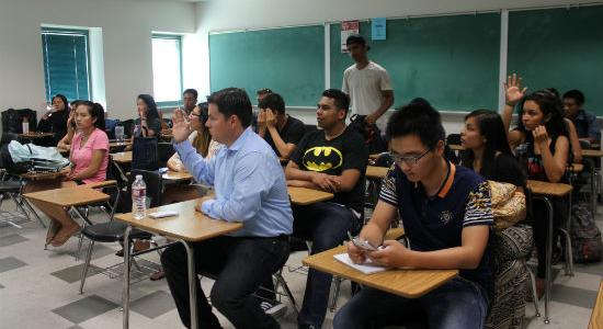 Students engaging in class workshop.